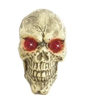 Caveira de decoração tamanho real olhos LED