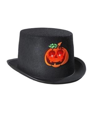 Halloween hoge hoed met knipperende pompoen