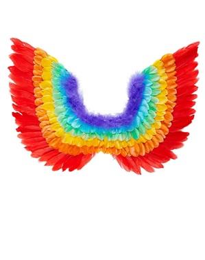 Flügel aus regenbogenfarbenen Federn für Erwachsene