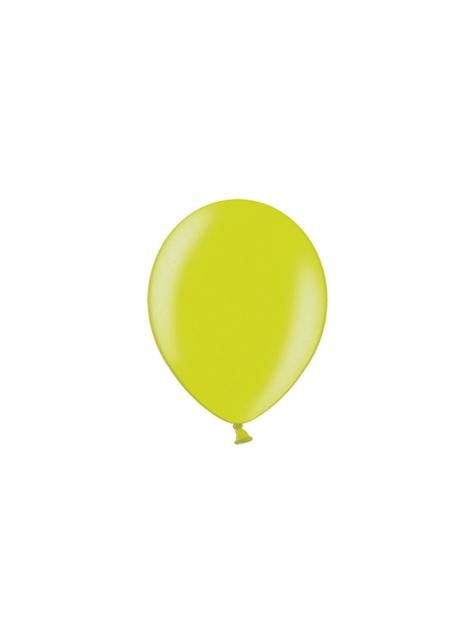 50 globos extra resistente verde lima metalizado (23 cm)