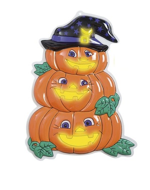 3D Glow-in-the-dark Trio of Pumpkins with Hat