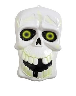 3D-dödskalle med självlysande ögon