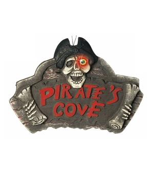 Cartaz de cova pirata com olho de cor que muda