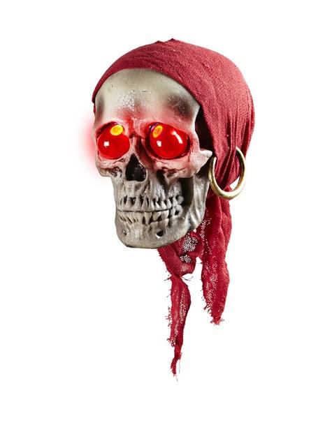 Calavera pirata colgante con pañuelo y ojos rojos