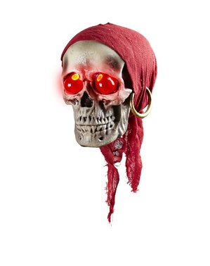 Hanging Pirate Skull with Bandana and Red Eyes