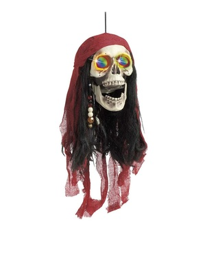 Hanging Pirate Skull with Colour Changing Eyes