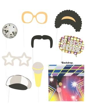 Set van 9 stuks en achtergrond voor Photocall jaren '70 Disco
