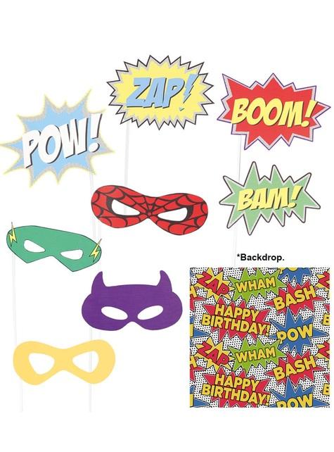 Zestaw Photocall Superhero i tło 9 sztuk