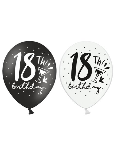 6 Luftballons extra stark 18. Geburtstag (30 cm)