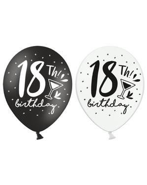 6 ekstra stærke balloner til 18-års fødselsdag (30 cm)