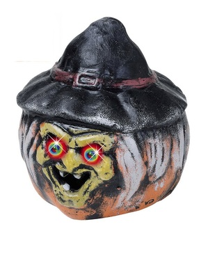 Abóbora bruxa com olhos às cores
