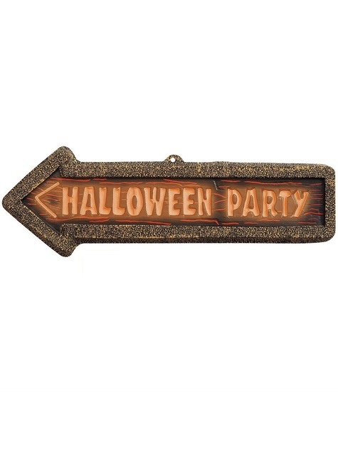 Halloween Party Schild 3D fluoreszierend