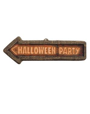 Cartello Halloween Party fluorescente 3D