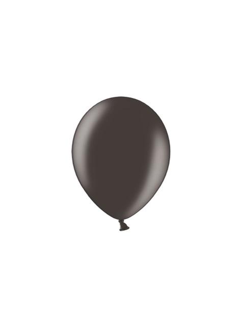 10 extra sterke ballonnen in metallic zwart (27 cm)