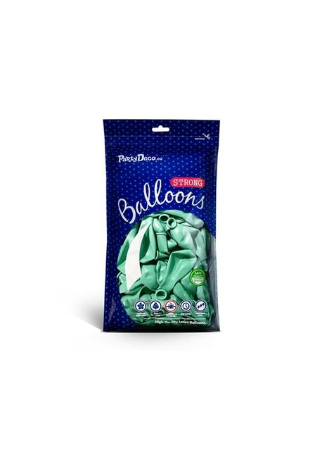 10 ballons extra résistants vert menthe métallisés (30 cm)