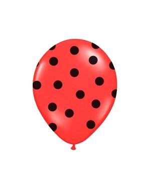 6 ballonger i korall med svart polka prikker (30 cm)