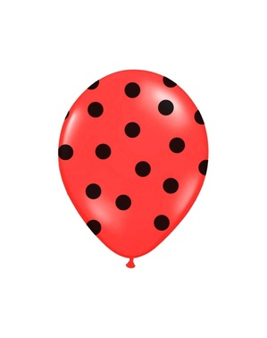 6 balloons in coral with black polka dots (30 cm)