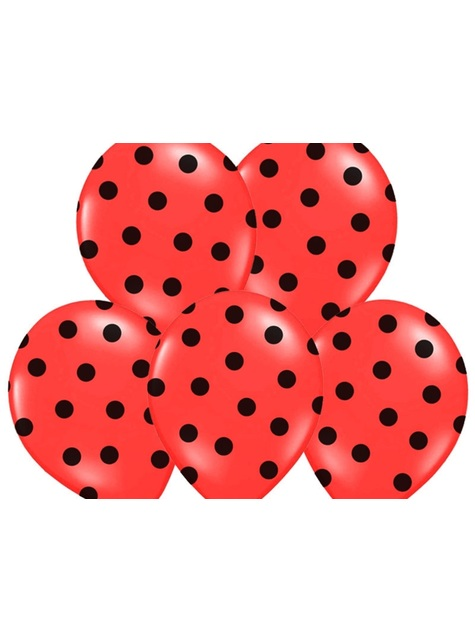 6 Luftballons korallenrot mit schwarzen Punkten (30 cm)