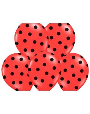 6 balonků in korálových s černými puntíky (30 cm)