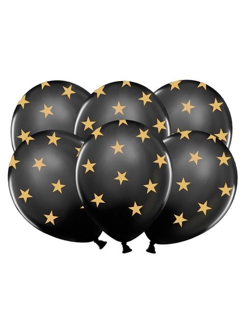 6 globos con estrellas doradas y negro (30 cm)