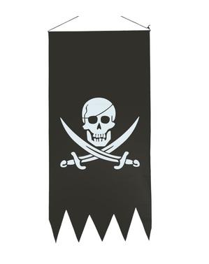 Pirátská vlajka s lebkou černá