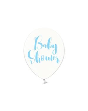 """6 прозрачни сини латексови балона """"BABY SHOWER""""(30cm)"""