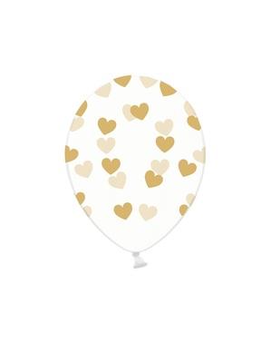 6 ilmapalloa kultaisilla sydämillä (30cm)