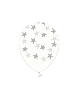50 balloons transparent with silver stars (30 cm)