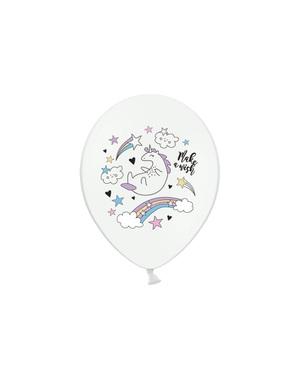 6 lateksi-ilmapalloa yksisarvisella (30cm) - Unicorn Collection
