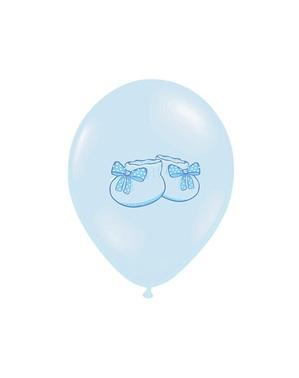 6 Luftballons aus Latex pastellblau mit Babyschuhen (30 cm)