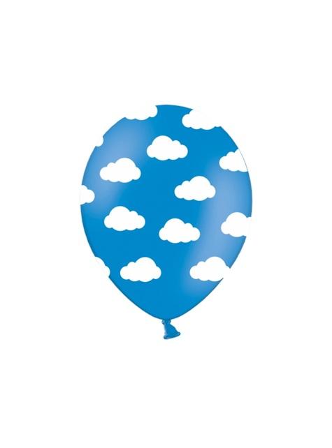 6 balloons half helder blauw met witte wolken (30 cm)