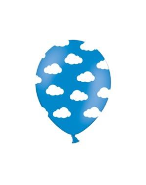 6 pół-przezroczyste niebieskie balony w białe chmurki (30cm)