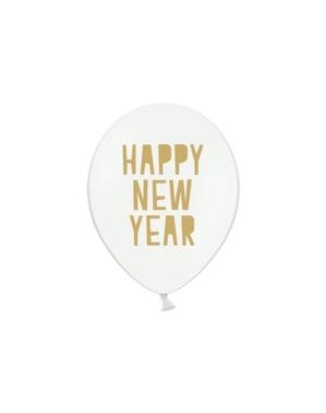 6 «щасливий» латексні кулі в білому (30 см)