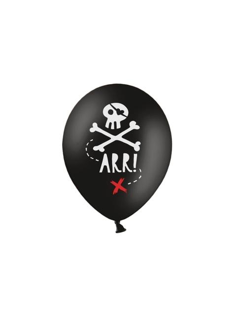 6 balões pretos de latex  festa pirata (30 cm) - Pirates Party