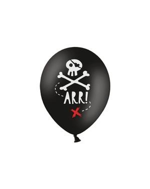 黒で海賊党のための6つのラテックスバルーン(30センチメートル) - 海賊党