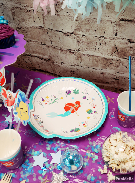 4 platos con forma de concha de La Sirenita (30x20 cm) - Ariel Under the Sea