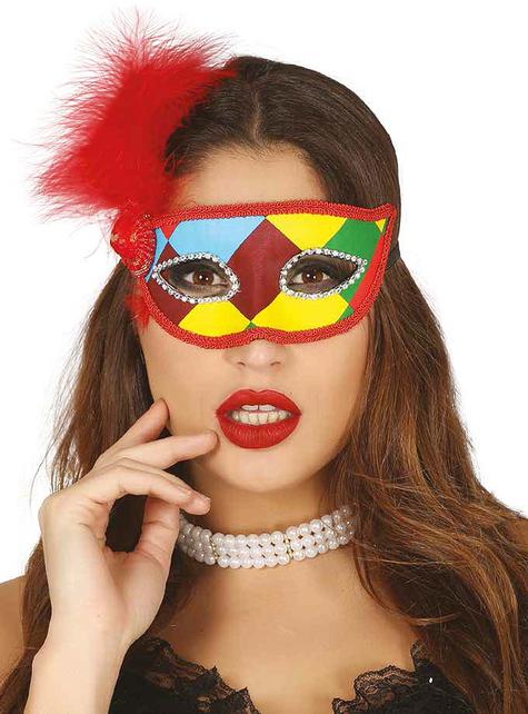 Máscara de arlequim multicolor com pluma vermelha para adulto