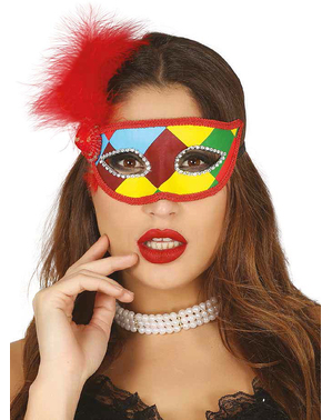 Multicoloured Harlequin eyemask with red feathers