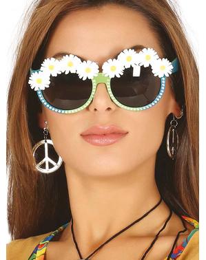 Grüne Brille mit Gänseblümchen für Erwachsene