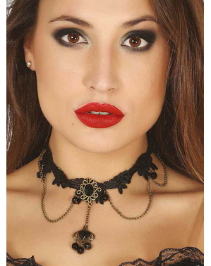 Gothic choker with black jewels