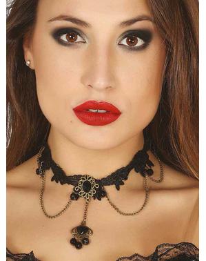 Gotische ketting met zwarte sieraden