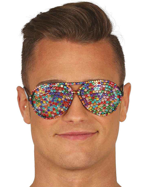 Occhiali multicolor con brillanti incastonati