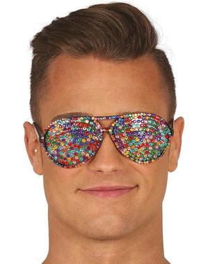 Óculos multicolor com brilhantes incrustados