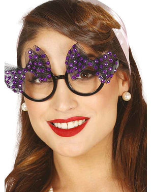 Glasögon med lila rosetter dam