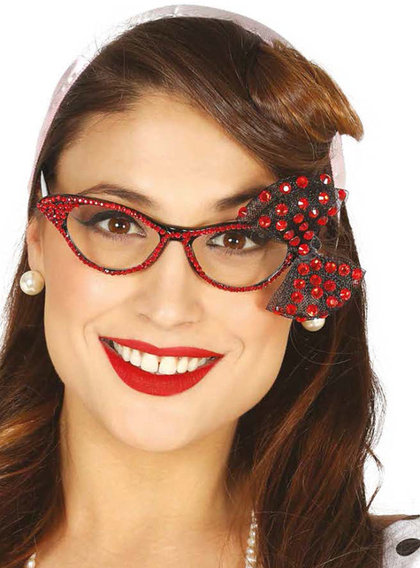 Briller med diamanter og rød sløjfe til kvinder