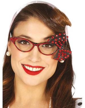 Óculos anos 50 com brilhantes e laço vermelho para mulher