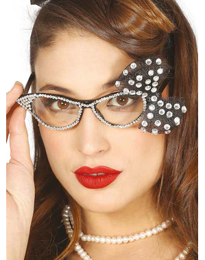 50s Glasses with Diamonds and Bow for Women