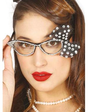Óculos anos 50 com brilhantes e laço para mulher