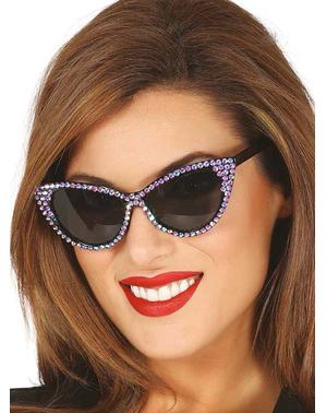 Óculos pretos anos 50 brilhantes para mulher