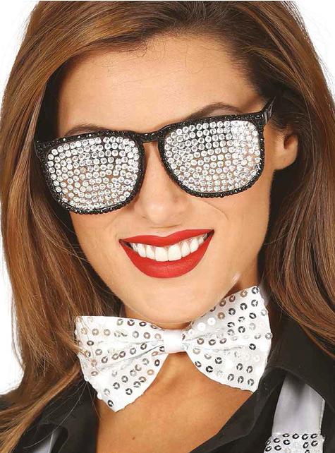Gafas plateadas con brillantes incrustados